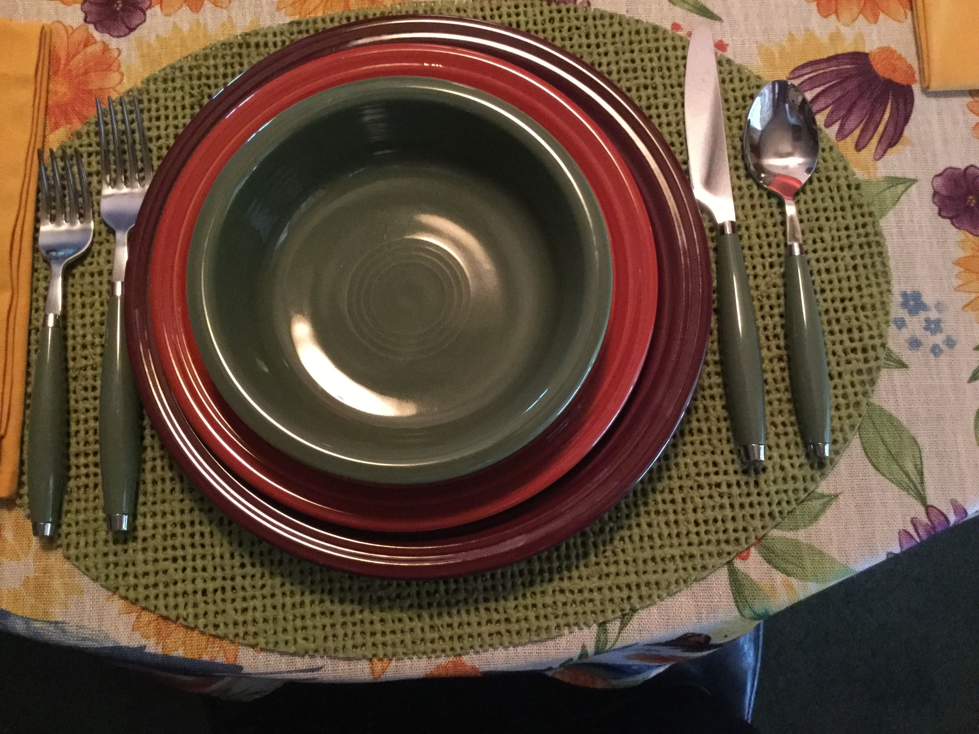 Fiesta® Dinnerware colors for Autumn place setting: Claret, Paprika and Sage.