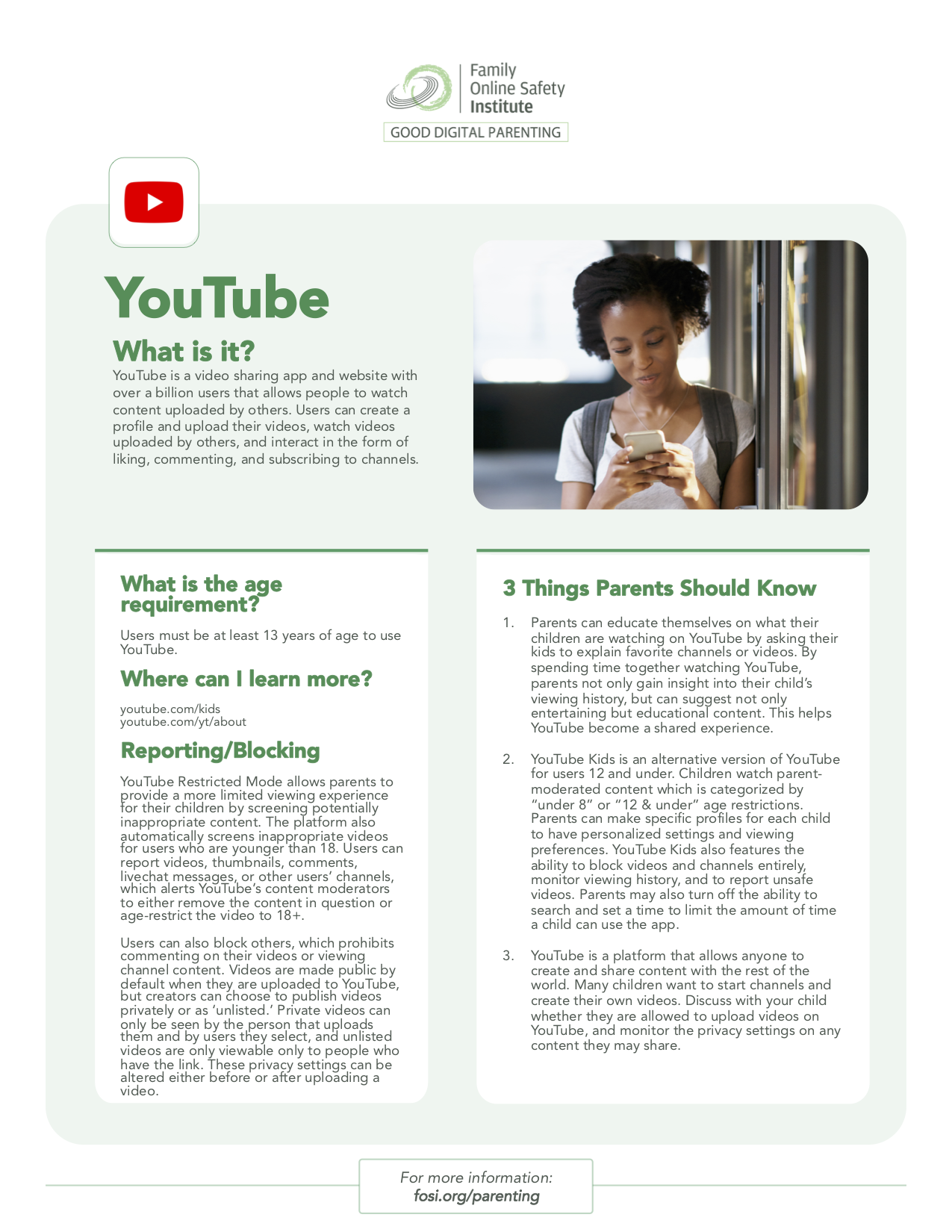 Good Digital Parenting App Tip Sheet What is YouTube