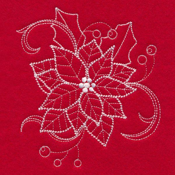 Blissful Poinsettia Whitework Design M14873 From Emblibrary
