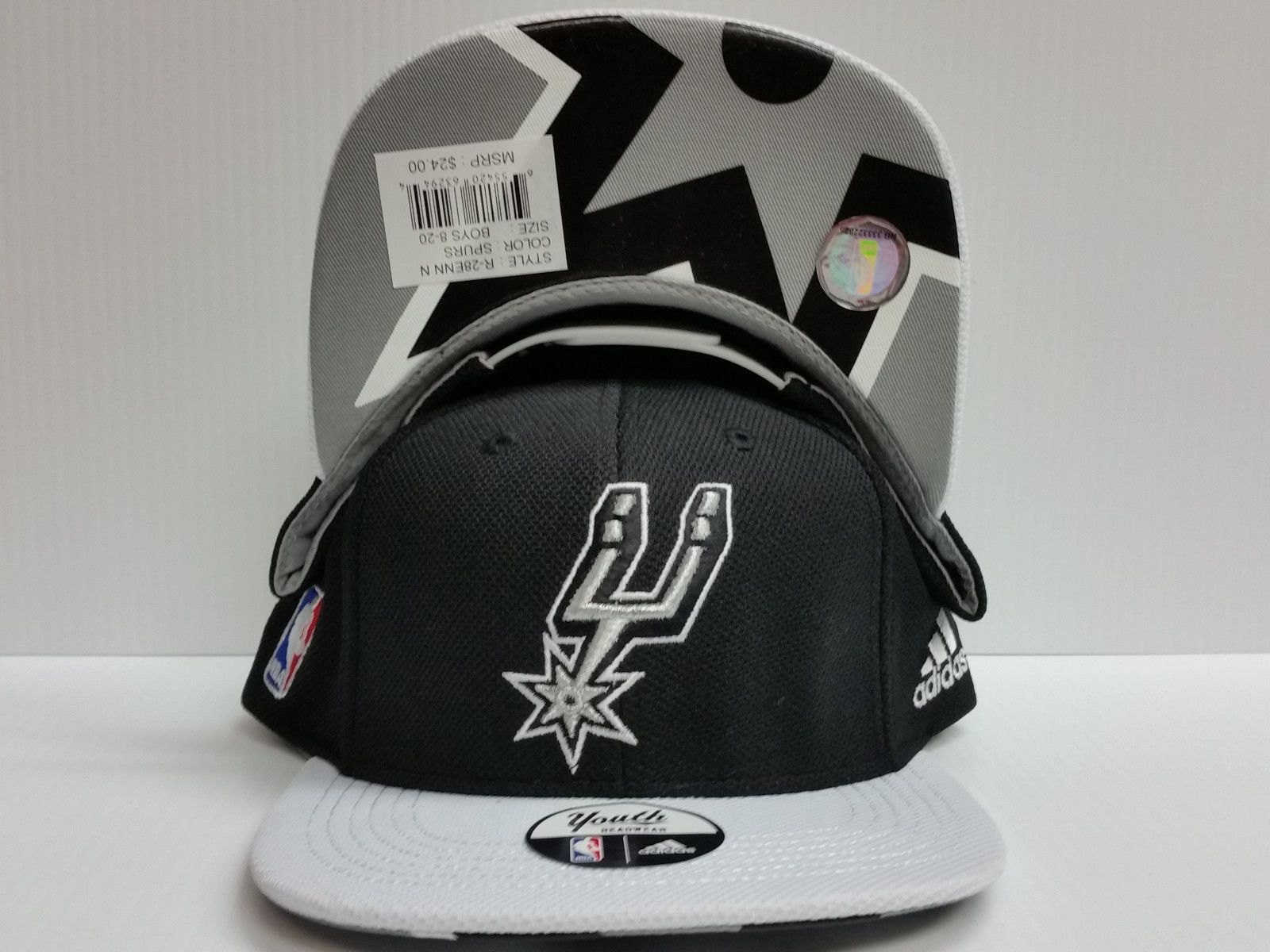 c275933a9df Youth San Antonio Spurs Cap Flat Brim Adidas Snapback Hat 2015 Draft Day NBA