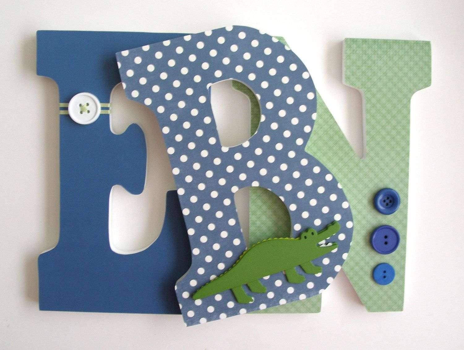 Alligator Custom Wooden Letters, Personalized Nursery Name