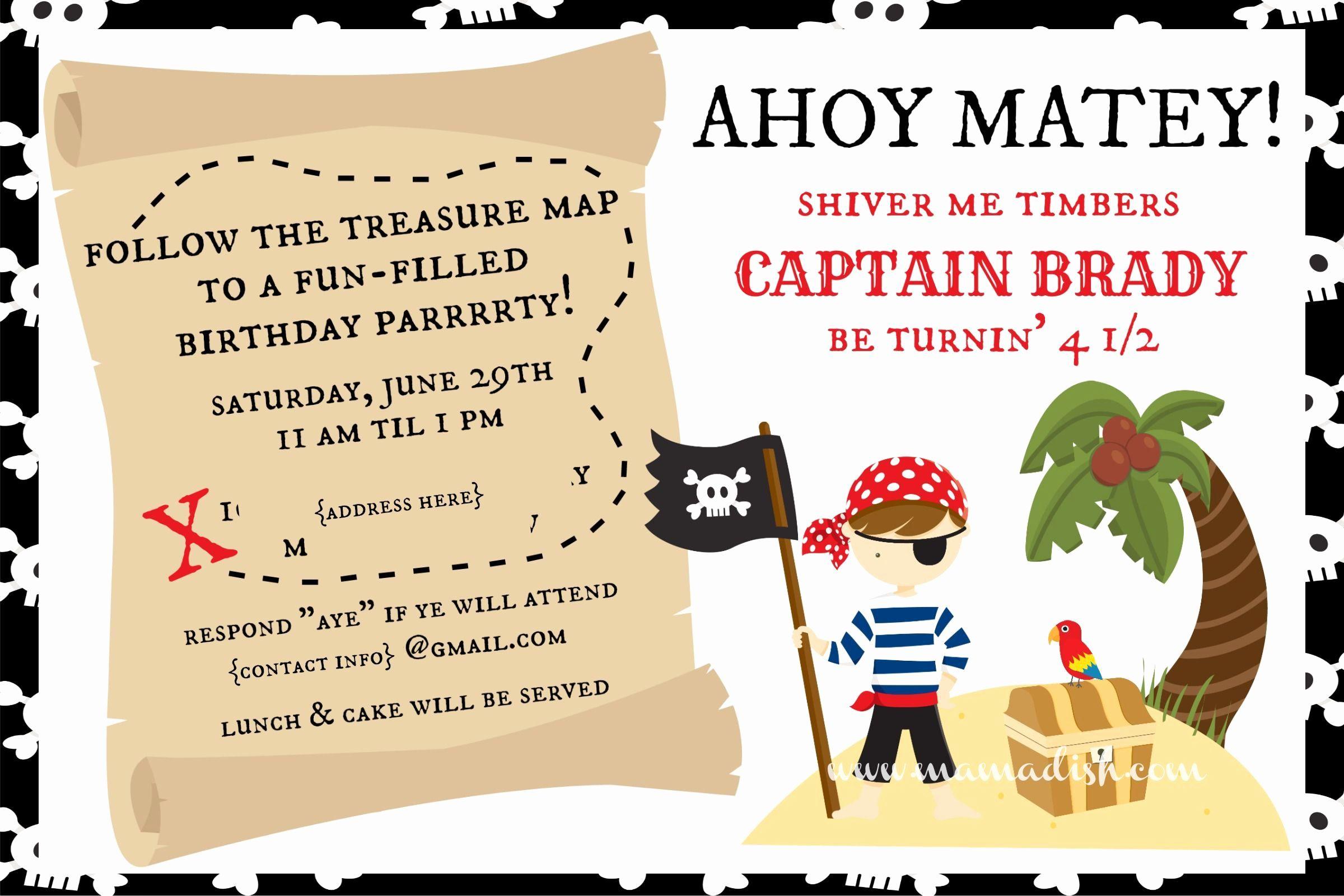 pirate party invitation wording unique