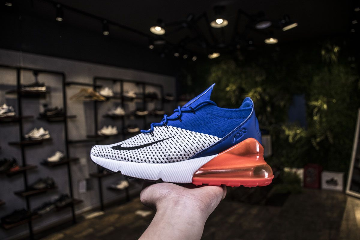 Nike Air Max 270 Flyknit Ultramarine AO1023-101 White Blue Red Shoes8 Nike  Air Max 270 Flyknit White Black-Racer Blue-Total Crimson March 22 7dd0c0e98