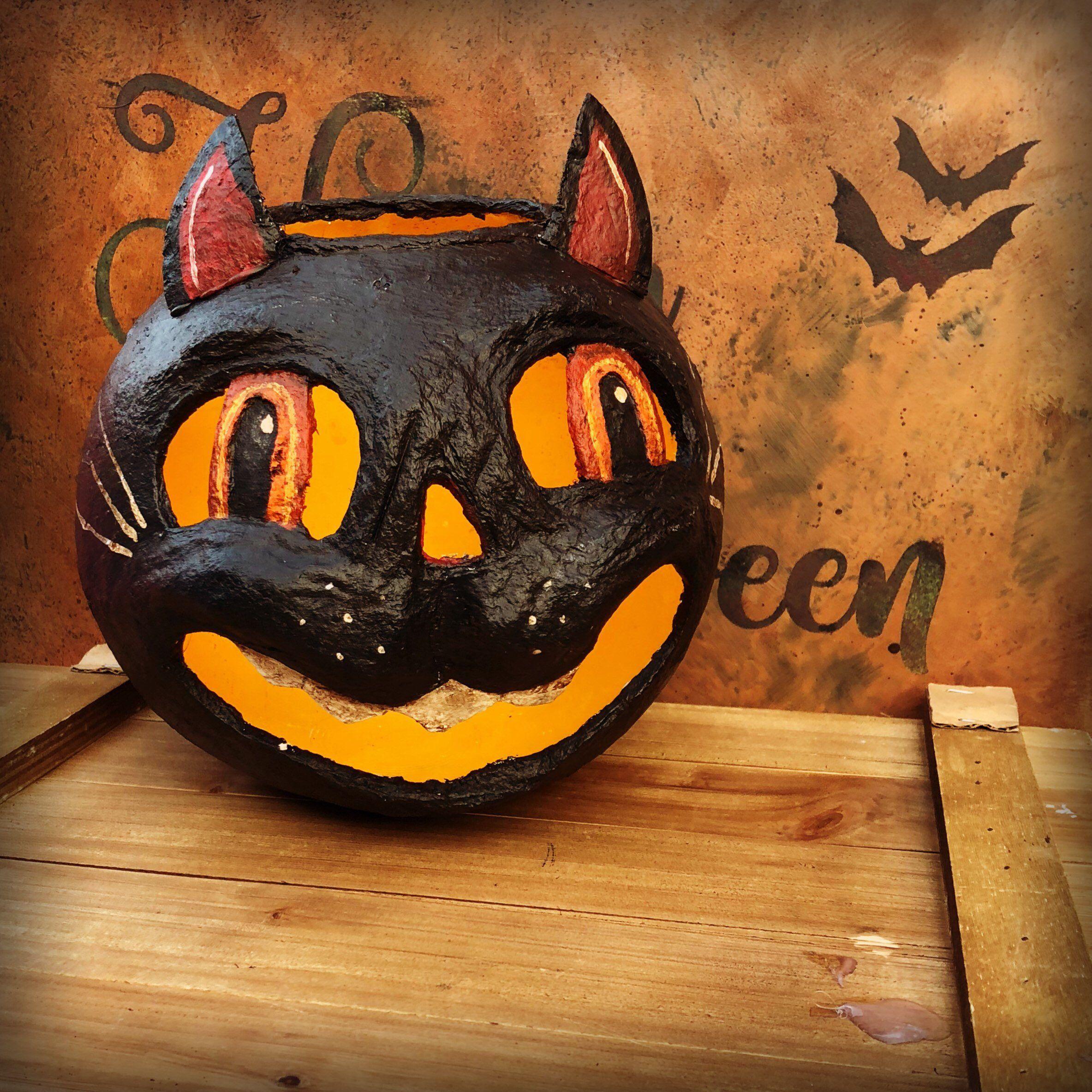 Vintage Paper Mache Cat Bucket Jack O Lantern Bucket Vintage Etsy Halloween Folk Art Vintage Halloween Halloween Jack O Lanterns