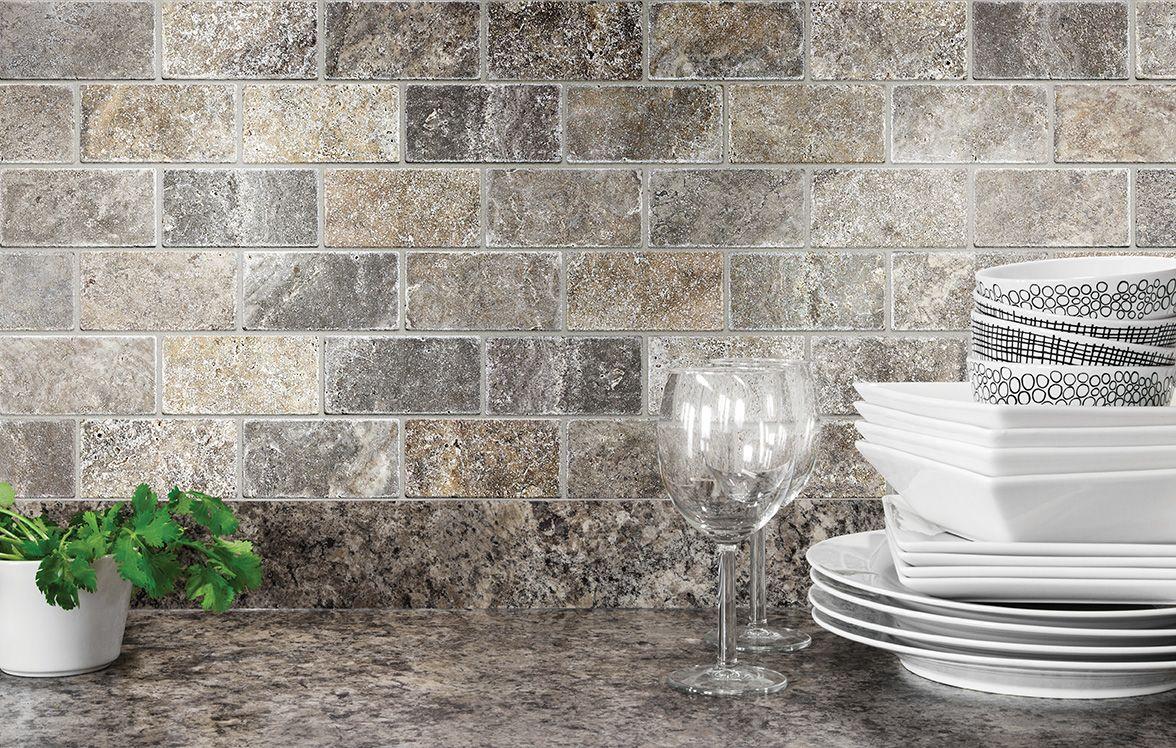 Anatolia Tile Silver Crescent Brick Mosaic Natural Stone