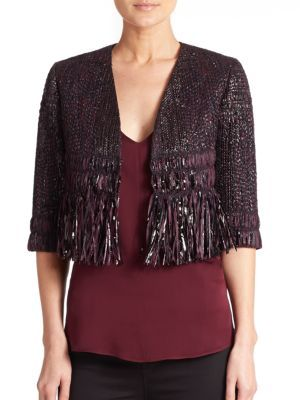 MILLY Couture Fringe Tweed Jacket. #milly #cloth #jacket