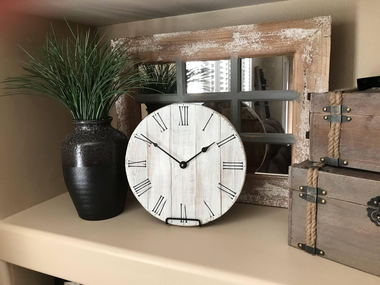 12 inch clock small wood clock rustic clock farmhouse