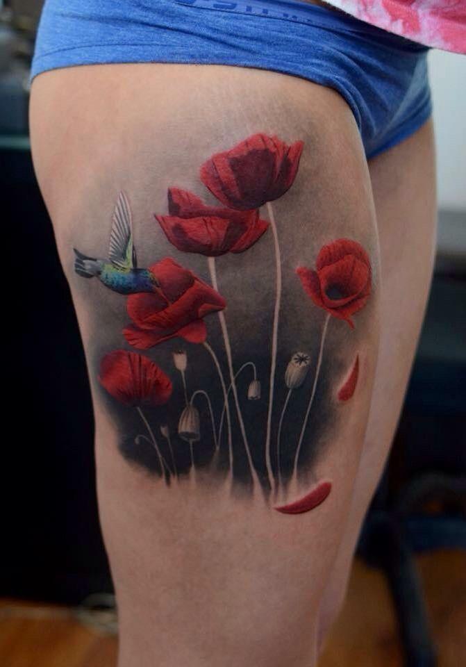 Mohnblume Realistisch Mohnblumen Tattoo Tatowierungen Realistisches Tattoo