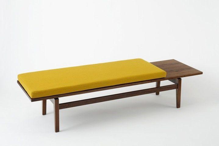 Jens Risom Bench With Cushion Mid Century Modern Design Zeitgenossische Mobel Bankkissen Mobeldesign