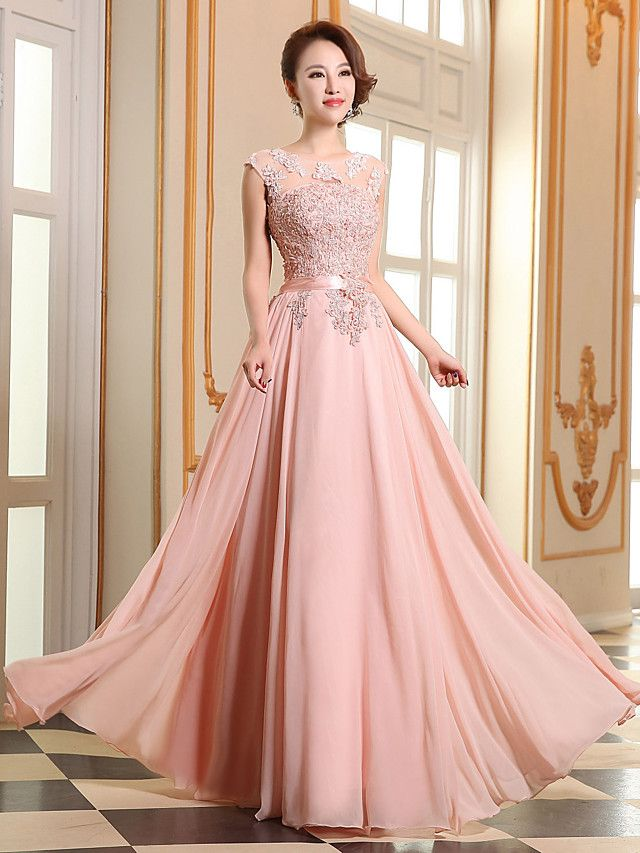 A Line Jewel Neck Floor Length Georgette Prom Formal Evening Dress