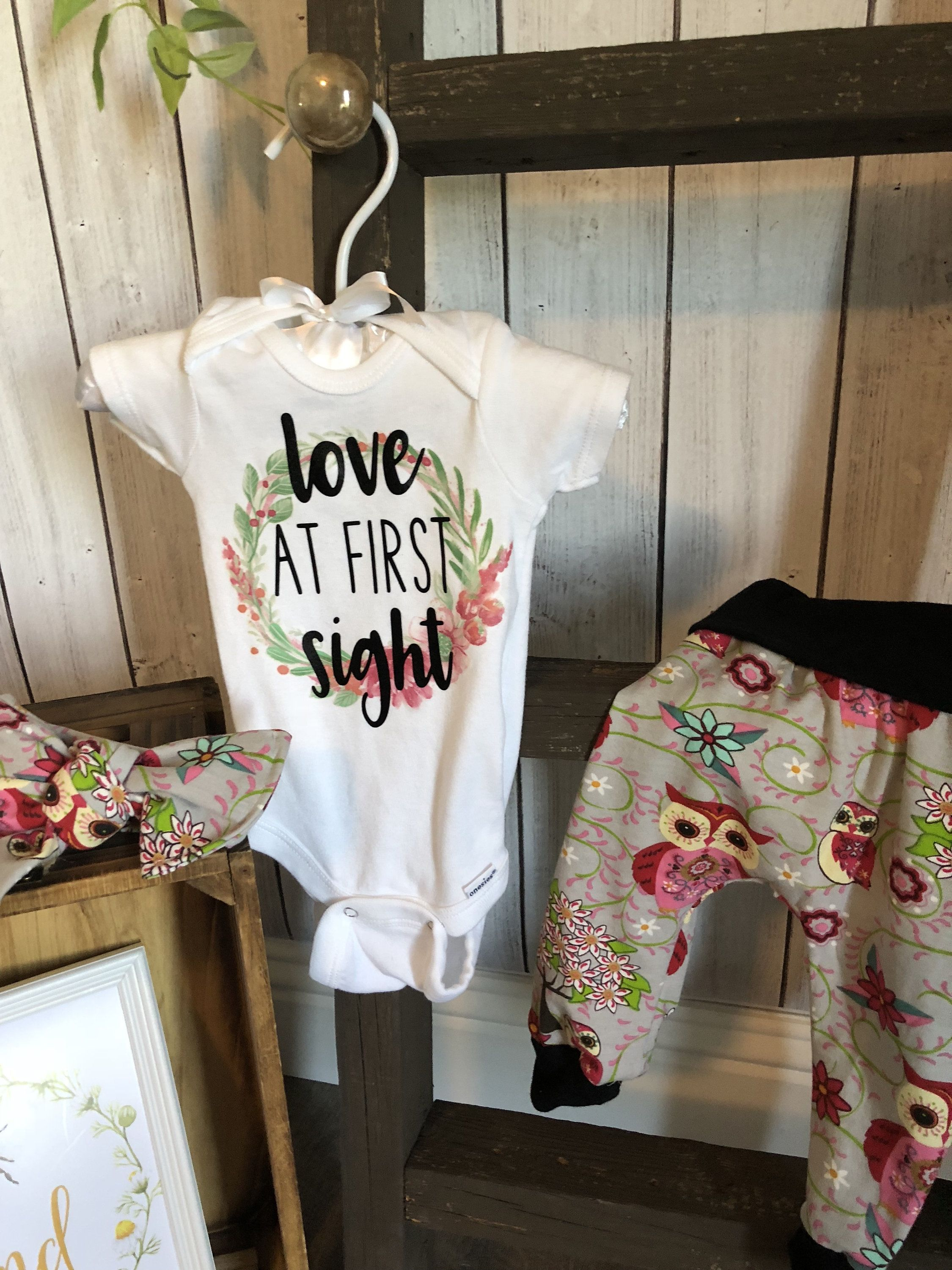 Custom Newborn Hospital Baby Girls Coming Home Outfit Personalized Girls Baby Owl Set Baby Shower Gift