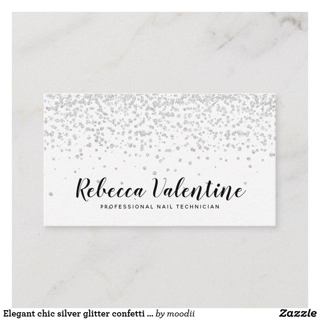 Elegant chic silver glitter confetti white minimal