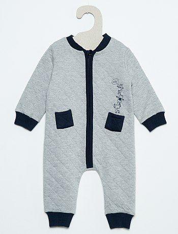 f5fdc704f Pijama de efecto acolchado con cremallera azul chiné Bebé niño ...