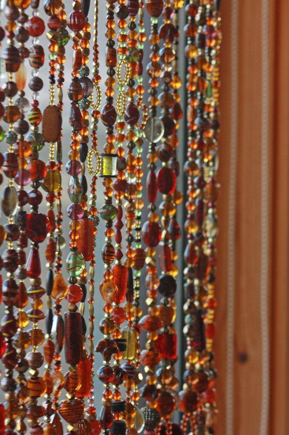 Beaded Curtain Glass Beaded Sun Catcher Window Curtain Boho Home