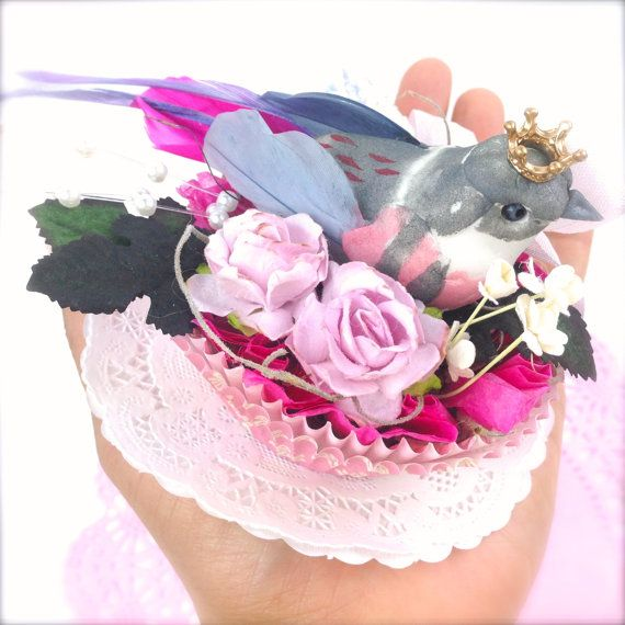 Easter shabby chic gifts spring home decor pink birds nest shabby chic home decoration birds nest paper cupcake liner ornament love gifts ooak negle Images