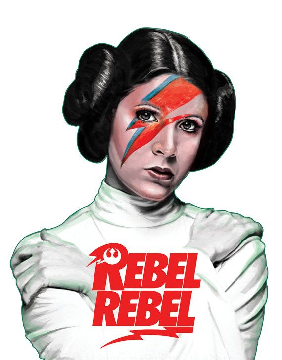Rebel Rebel Bowie Leia Star Wars Illustration by  - Carrie Fisher