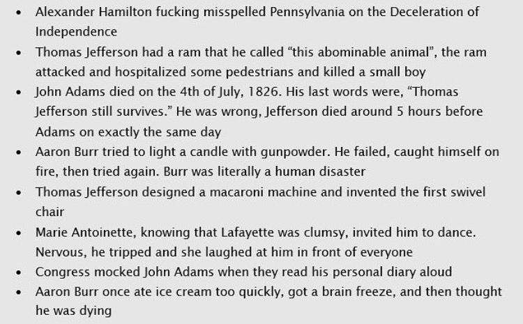i love history /// Was it a joke that they misspelled Declaration when talking about Hamilton misspelling Pennsylvania? #historyfacts