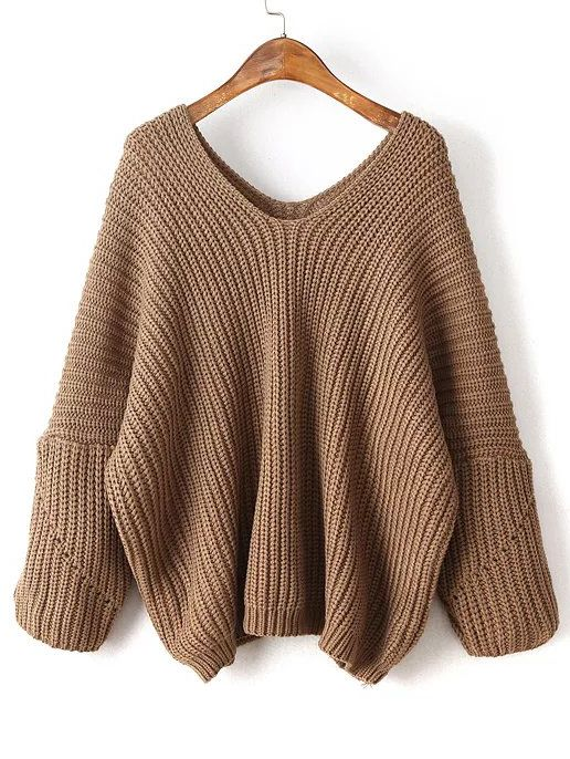 Shop Coffee V Neck Drop Shoulder Oversized Sweater online. SheIn ...