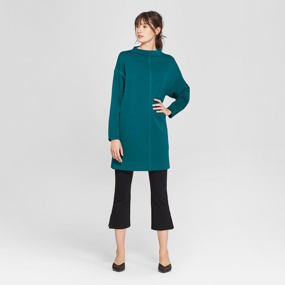 Womenus long sleeve high neck scuba tshirt dress prologue teal
