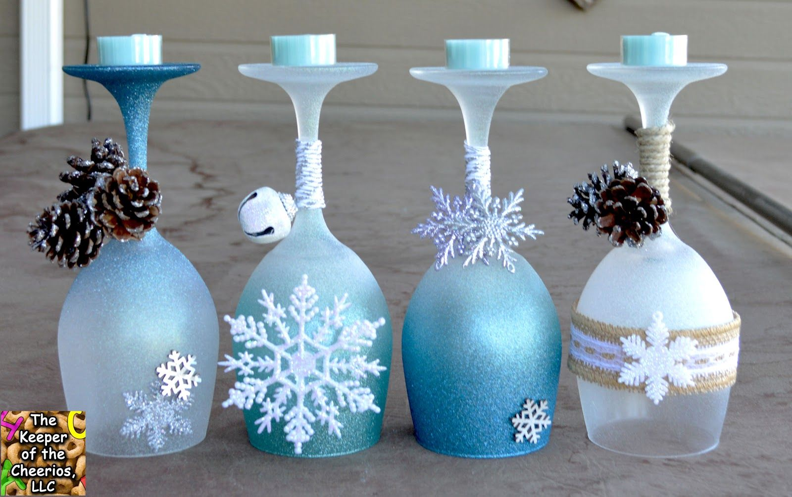 The keeper of the cheerios winter wonderland wine glasses for Wine bottle candle holder craft