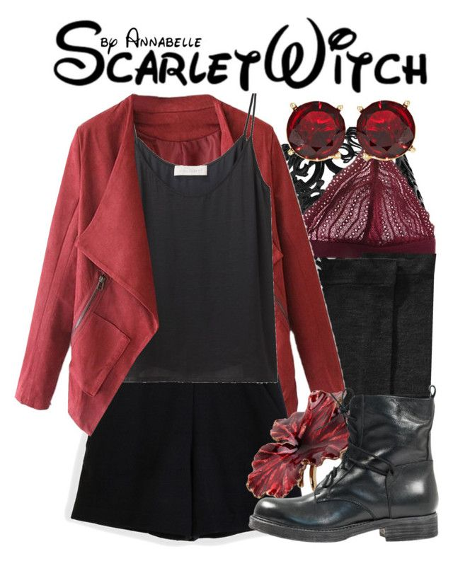 """""""Scarlet Witch (Wanda Maximoff)"""" by annabelle-95 ❤ liked on Polyvore featuring moda, Bar III, Cosabella, Hue, Lauren Ralph Lauren, Proenza Schouler, Cacharel, Madina Visconti di Modrone e Paolo Shoes"""