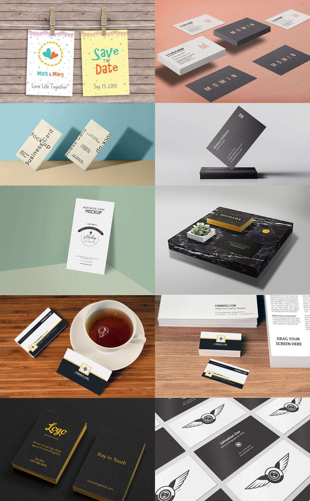 115+ Free Business Card Mockups   Free business cards, Business ...
