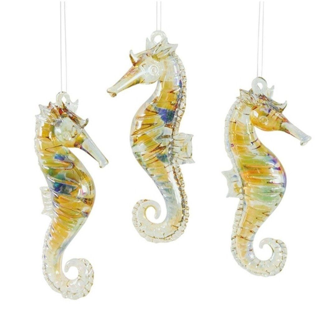 3 Glass Seahorse Ornaments