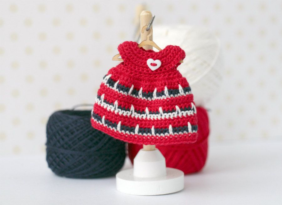 Miniature crocheted  red dress with ornament  for 4-5 inches doll. Doll clothing, kelly doll holiday dress. Dolls outfit. by Creativhook on Etsy