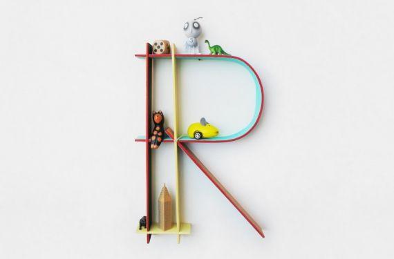 Os proponemos unas mini estanterías para decorar con forma de letras