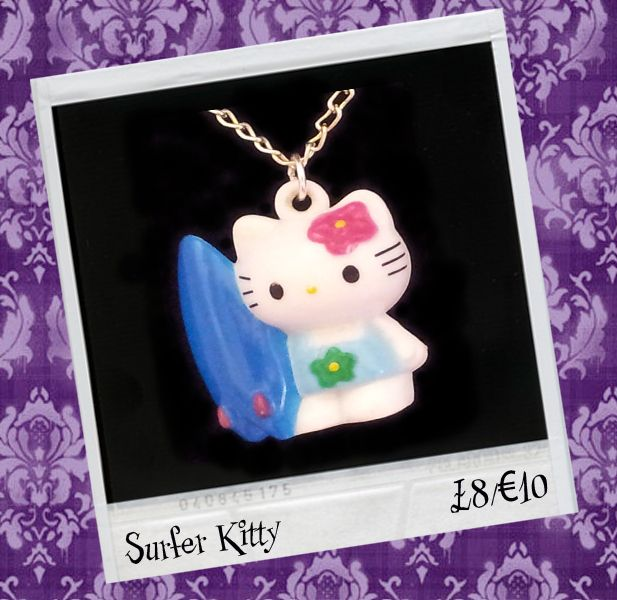 "BROKENDOLL 'SURFER KITTY' NECKLACE. £8.00 Look Amazing with this iconic Japanese Kawaii character 'Hello Kitty'. She measures approx 2.5cm x 2.5cm and is on a 18"" silver plated chain."