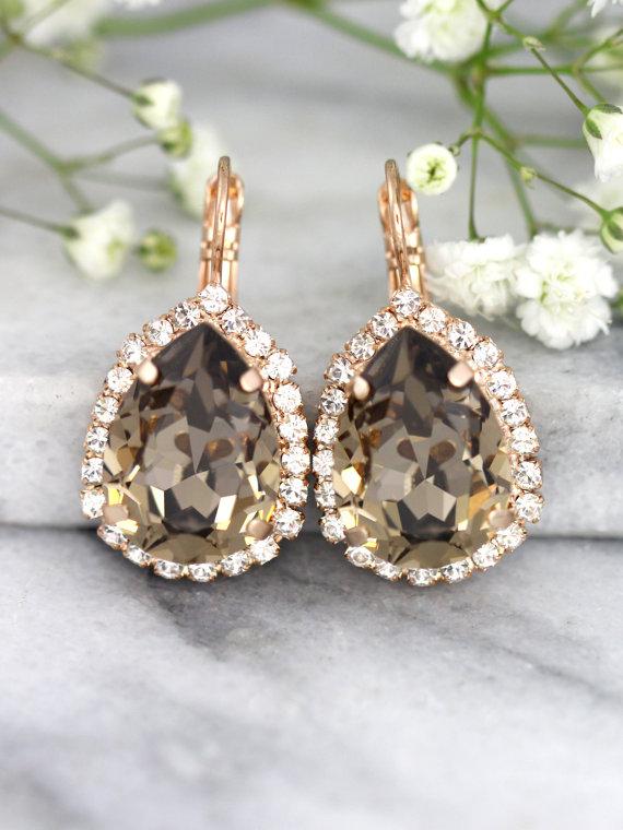 Brown Earrings Mocha Bridal Drop Swarovski Greige Chocolate Crystal Bridesmaids Pee Delights