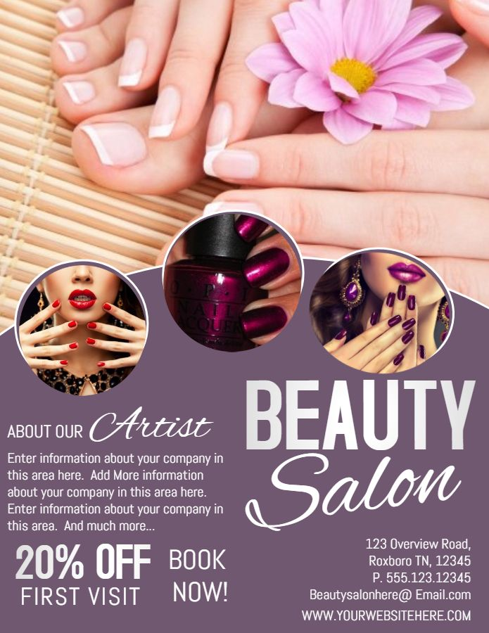 Beauty salon and Spa massage parlor poster template ...