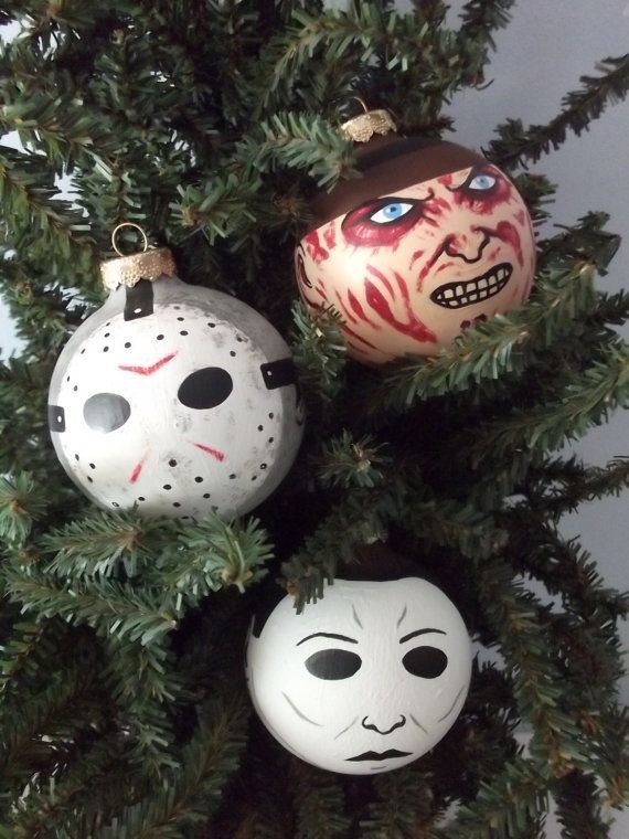 check out the classic horror characters made as hand painted holiday ornaments at the ginger pots store on etsy freddy krueger jason and michael myers - Michael Myers Halloween Decorations
