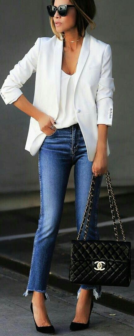Love the crisp white blazer w/the white top and the jeans. Love the accessories. Classic basic pieces yet chic