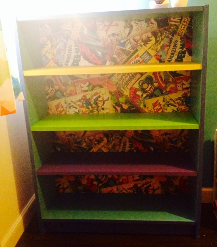 Mod Podge Marvel Wallpaper And Painted Ikea Billy Bookcase