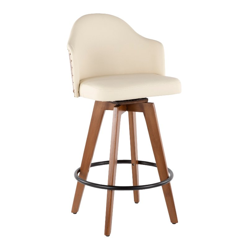 Mid Century Walnut And White 26 Inch Swivel Counter Height Stool