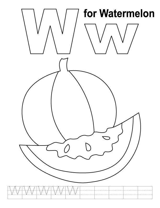 W for watermelon coloring page with handwriting practice | Free ...