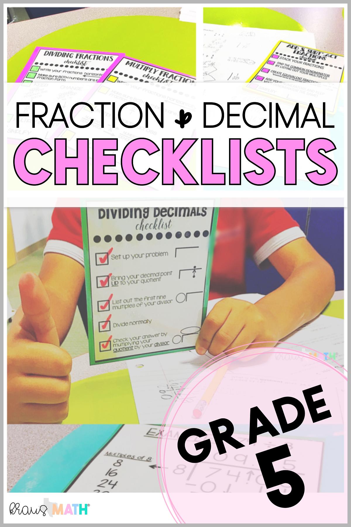 Multiply Amp Divide Fractions Checklist