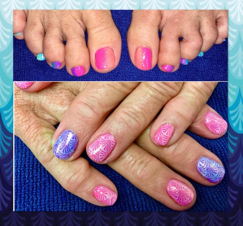 Ombre toes, gel manicure with stamped design and loose glitter ...