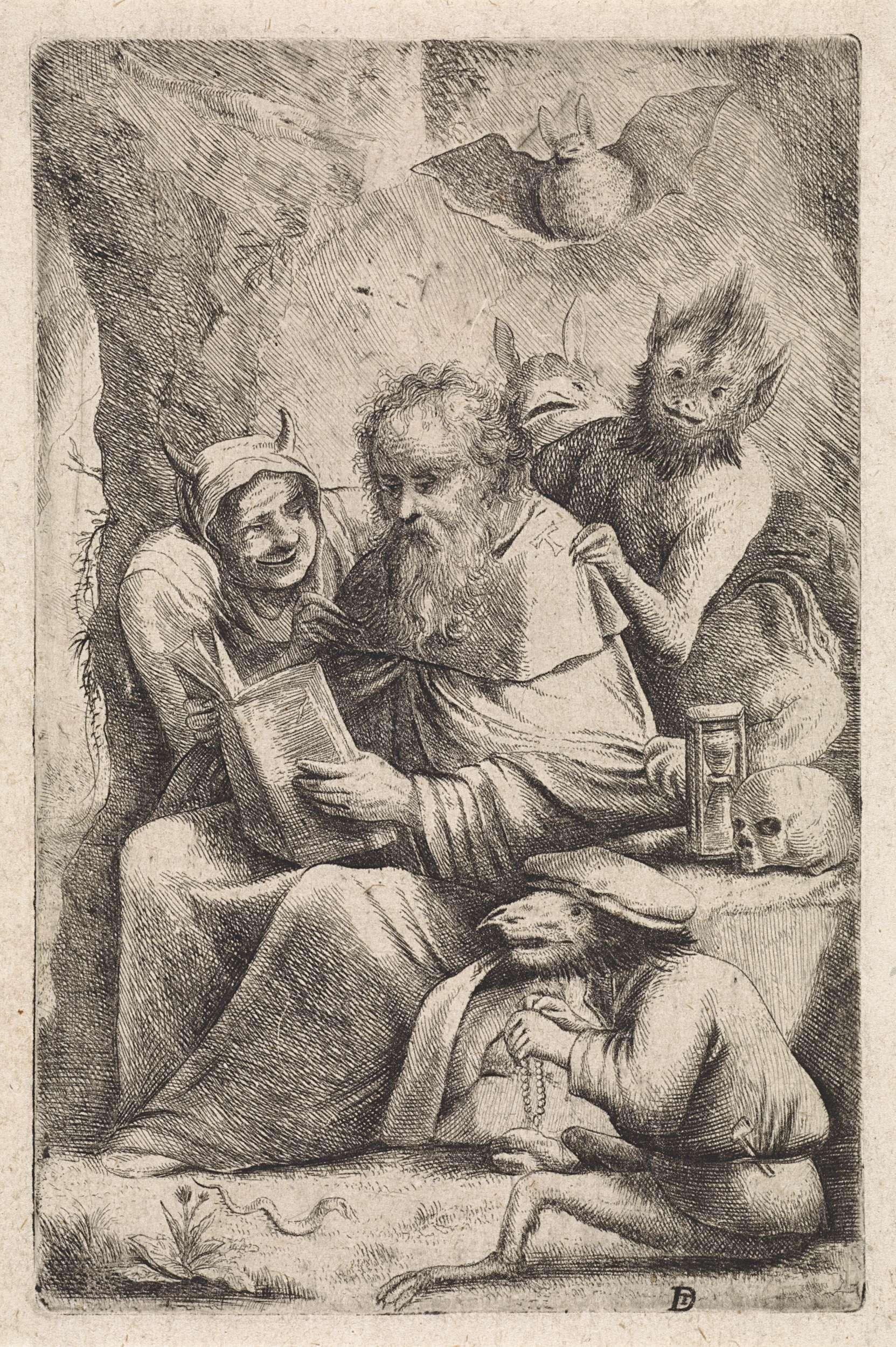 Anonymous | Verzoeking van de H. Antonius, Anonymous, 1626 - 1740 | De heilige Antonius zit in een grot en leest zijn gebedsboek, terwijl boze geesten in de gedaante van een vrouw met horens, dieren en monsters hem belagen. Op de steen naast hem een zandloper en een schedel.