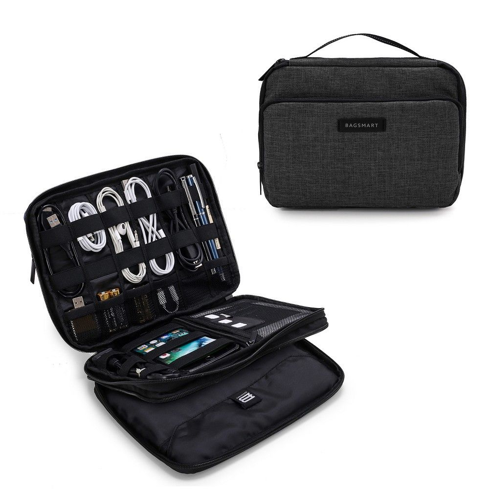 Smart Organizer 3 Layer Travel Electronics Cable Organizer Bag with Handbag Strap – Dark Gray, Adult Unisex, Size: Small, Dark Gray Blue