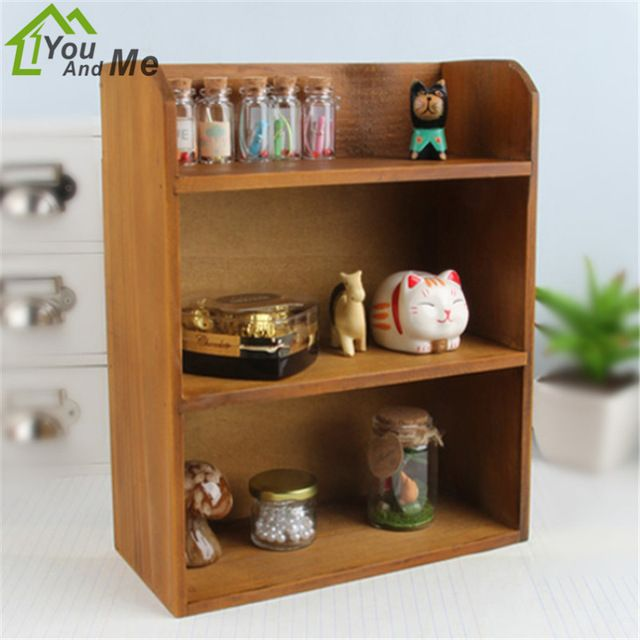 You And Me Practical Antique Wooden Table Sundries Container Cosmetics Storage Box Retro Grocery Wood Storage Cabinet