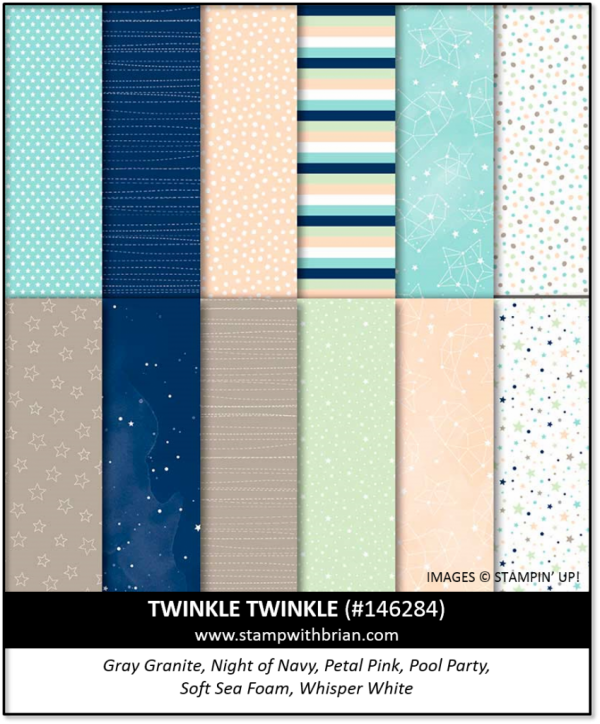 Stampin Up Retired TWINKLE TWINKLE Designer Series Paper NEW 12 Sheets