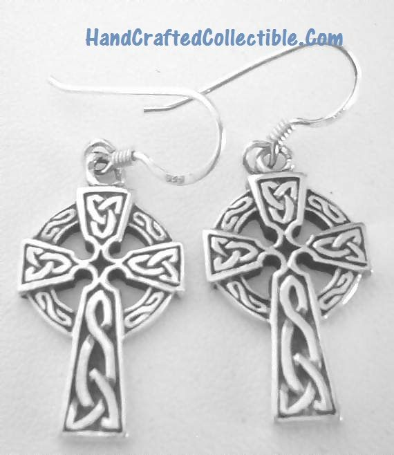 Sterling Silver Celtic Cross Earrings Irish Found At Http