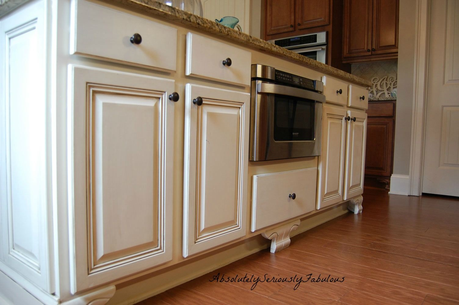 Adding Feet To Cabinets Updated Kitchen Microwave Drawer Cream Island Glazed Island Faux Finished Island Home Kitchens Kitchen Remodel Builders Cabinets