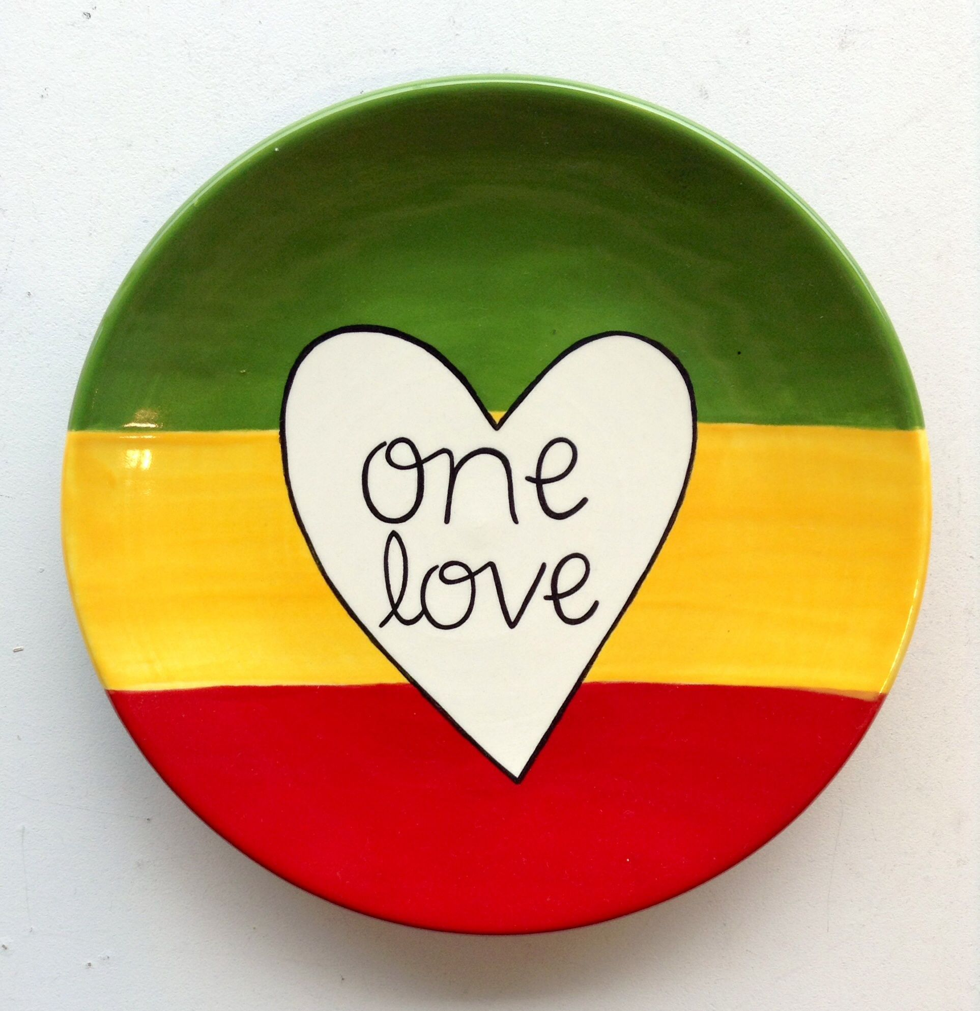 One Love pottery plate painted at Paint Your Pot in Cary NC! & One Love Bob Marley Plate | Paint Your Own Pottery | Paint Your Pot ...