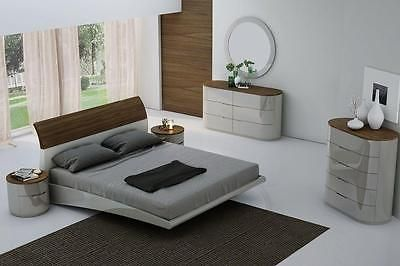 Ultra Modern Bed j&m amsterdam ultra modern walnut light grey lacquered king size
