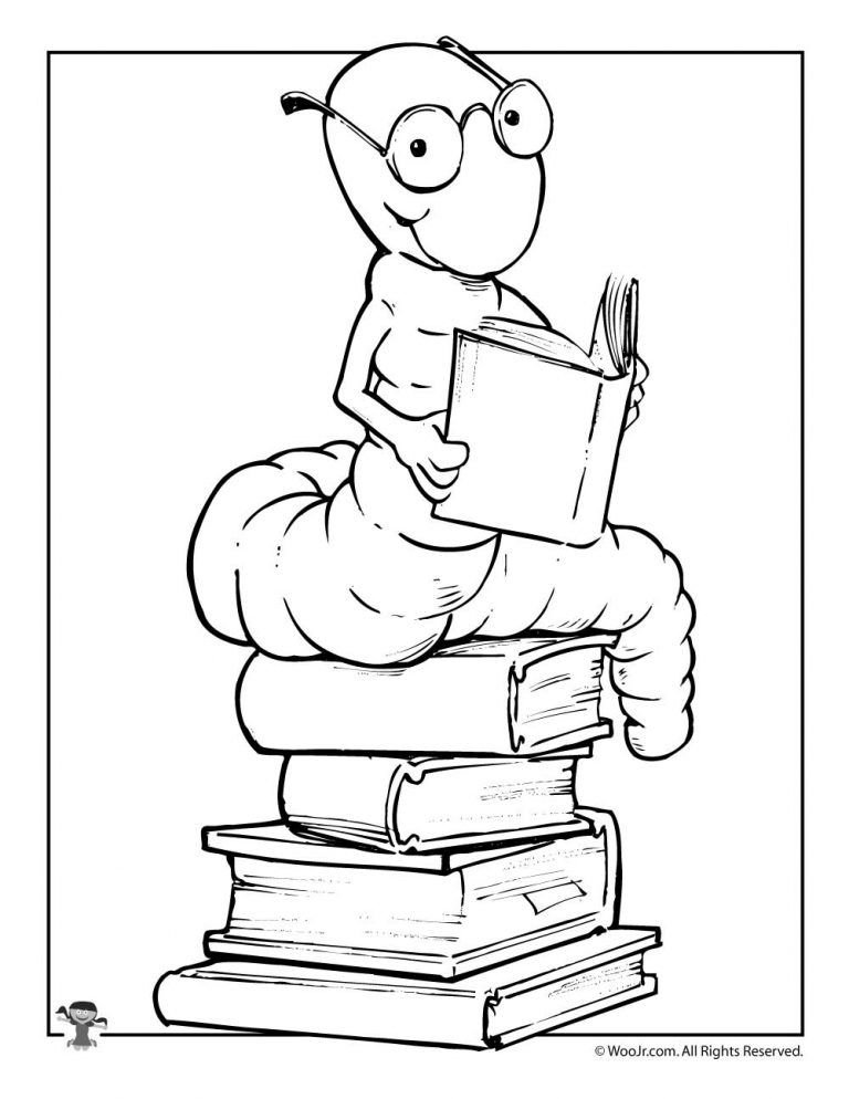 Reading Bookworm Coloring Page Coloring pages, Book