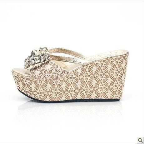 2013 Summer Wedges Rhinestones Beach Wedding Shoes Flip Flops For Bride With Platform