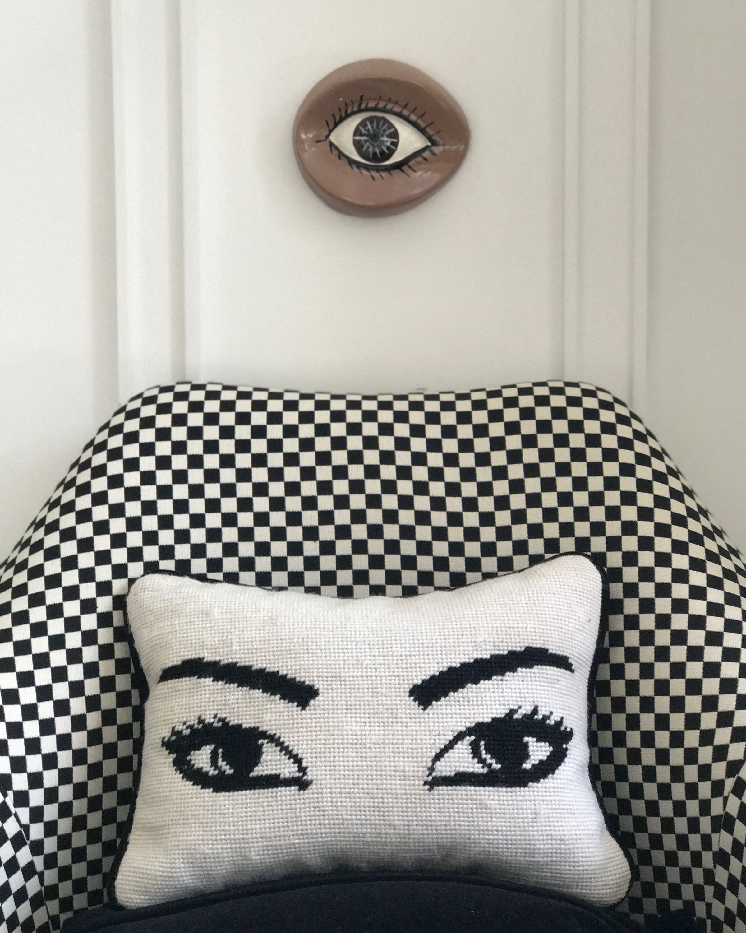 Eye Spy The Jonathan Adler Needlepoint Eyes Pillow Is A Surrealist Classic A Great Throw Pillow For Your Bedroom